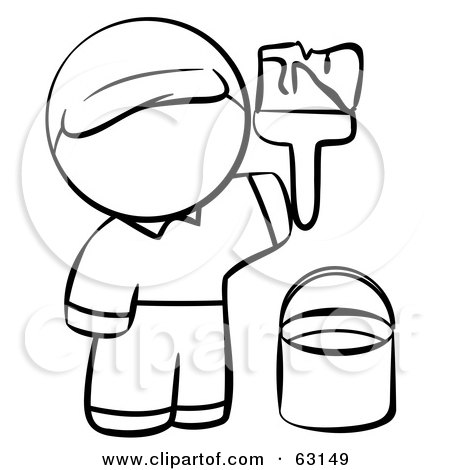 Royalty-Free (RF) Clipart Illustration of a Human Factor Man  Painting by Leo Blanchette