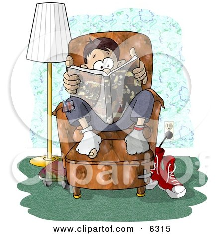 Teenage Boy Sitting on a Living Room Chair While Reading a Book Clipart Picture by djart
