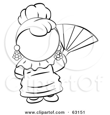 Royalty-Free (RF) Clipart Illustration of a Black And White Human Factor Spanish Woman Waving A Hand Fan by Leo Blanchette