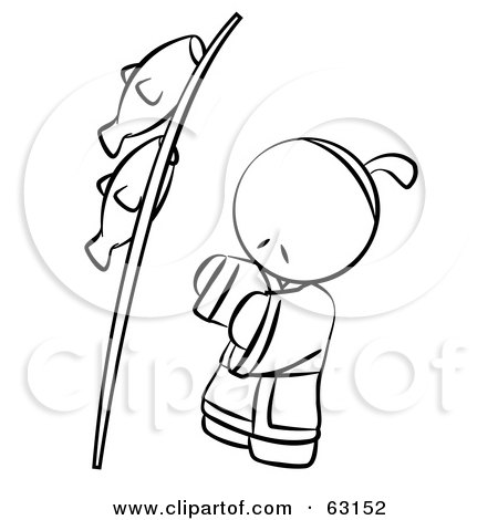 Royalty-Free (RF) Clipart Illustration of a Black And White Human Factor Japanese Boy With Fish On A Pole by Leo Blanchette