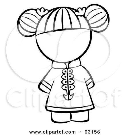 Royalty-Free (RF) Clipart Illustration of a Black And White Human Factor Chinese Girl With Her Hair Tied Up by Leo Blanchette