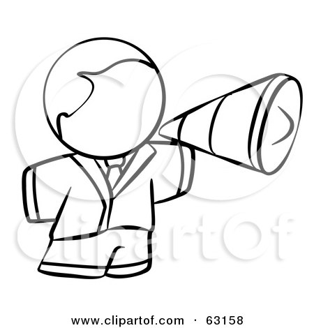 Royalty-Free (RF) Clipart Illustration of a Black And White Human Factor Man Using A Megaphone by Leo Blanchette