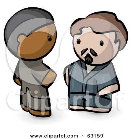 Royalty-Free (RF) Clipart Illustration of Human Factor Indian And Caucasian Men Talking by Leo Blanchette
