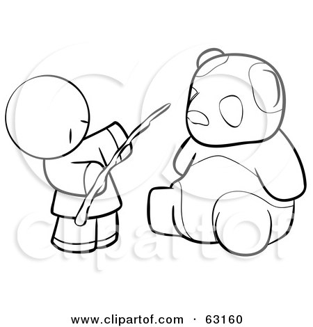 Royalty-Free (RF) Clipart Illustration of a Black And White Human Factor Chinese Man Feeding A Panda by Leo Blanchette