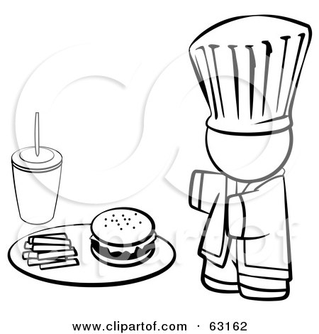 Royalty-Free (RF) Clipart Illustration of a Black And White Human Factor Chef Serving Fast Food by Leo Blanchette