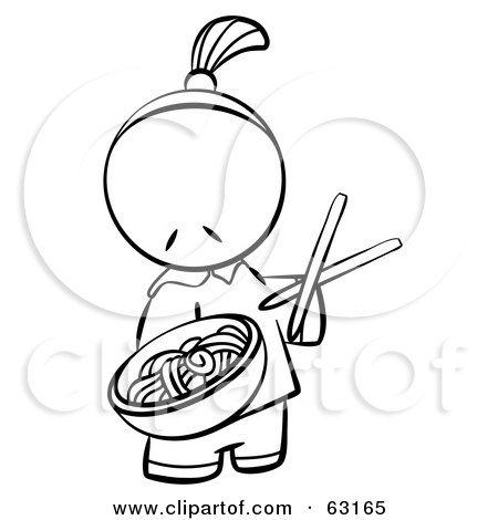 Royalty-Free (RF) Clipart Illustration of a Black And White Human Factor Chinese Man Serving Noodles by Leo Blanchette