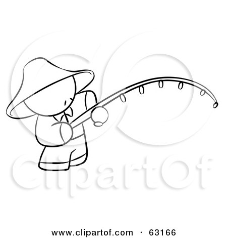 Royalty-Free (RF) Clipart Illustration of a Black And White Human Factor Chinese Man Fishing by Leo Blanchette