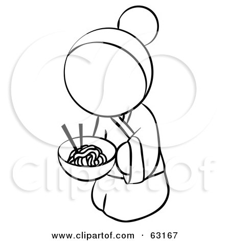 Royalty-Free (RF) Clipart Illustration of a Black And White Human Factor Geisha Woman Eating Noodles by Leo Blanchette