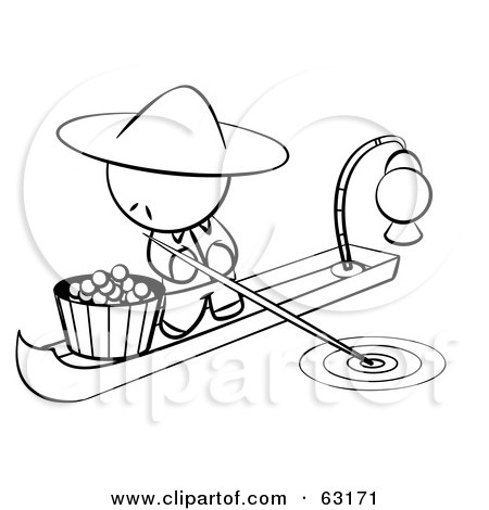 Royalty-Free (RF) Clipart Illustration of a Black And White Human Factor Chinese Man On A Food Boat by Leo Blanchette