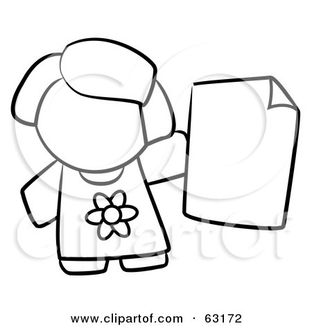 Royalty-Free (RF) Clipart Illustration of a Black And White Human Factor Girl Holding A Blank Paper by Leo Blanchette