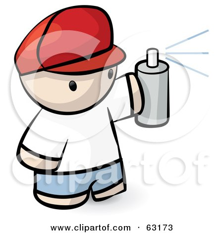 Royalty-Free (RF) Clipart Illustration of a Human Factor Man Spraying A Can Of Paint by Leo Blanchette