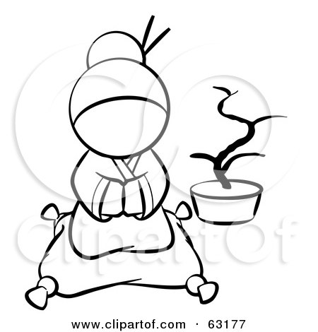 Royalty-Free (RF) Clipart Illustration of a Black And White Human Factor Japanese Geisha Sitting On A Pillow by Leo Blanchette