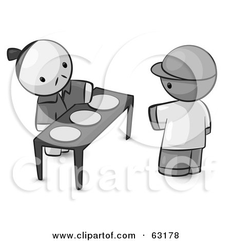 Royalty-Free (RF) Clipart Illustration of a Human Factor Oriental Man Serving Plates To A Customer by Leo Blanchette