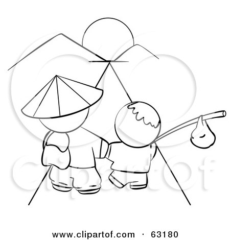 Royalty-Free (RF) Clipart Illustration of a Black And White Human Factor Chinese Father And Son Walking Towards The Sunset by Leo Blanchette