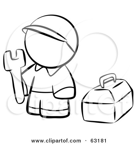 Royalty-Free (RF) Clipart Illustration of a Black And White Human Factor Contractor Man With His Tool Box by Leo Blanchette
