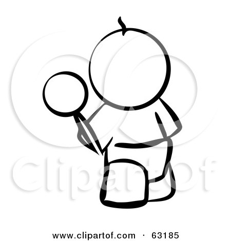 Royalty-Free (RF) Clipart Illustration of a Black And White Human Factor Baby Outline With A Rattle by Leo Blanchette