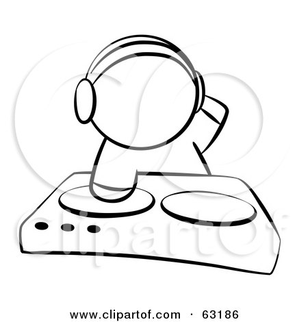 Royalty-Free (RF) Clipart Illustration of a Black And White Human Factor Dj Mixing Music by Leo Blanchette