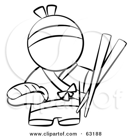 Royalty-Free (RF) Clipart Illustration of a Black And White Human Factor Japanese Chef With Chopsticks And Sushi by Leo Blanchette