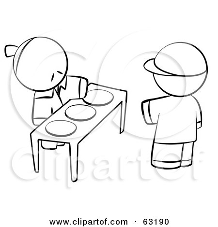 Royalty-Free (RF) Clipart Illustration of a Black And White Human Factor Boy Picking A Plate Of Food From An Oriental Man by Leo Blanchette