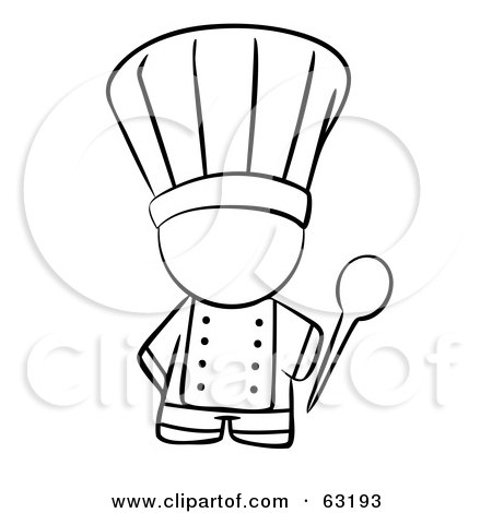 Royalty-Free (RF) Clipart Illustration of a Black And White Human Factor Chef Holding A Mixing Spoon by Leo Blanchette