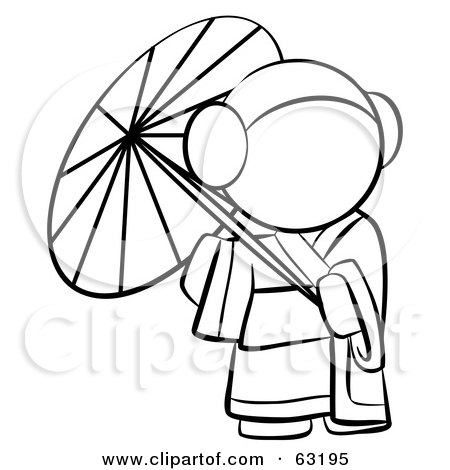 Royalty-Free (RF) Clipart Illustration of a Black And White Human Factor Geisha Woman Strolling With A Parasol by Leo Blanchette