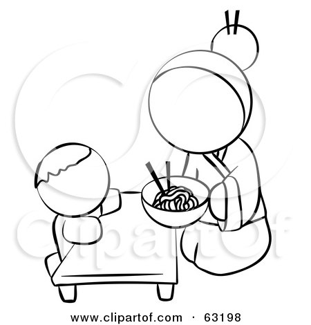 Royalty-Free (RF) Clipart Illustration of a Black And White Human Factor Chinese Woman Feeding Her Baby Noodles by Leo Blanchette