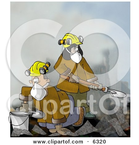 Urban Search and Rescue (USAR) Team Digging Through a Pile of Fallen Debris Clipart Illustration by djart