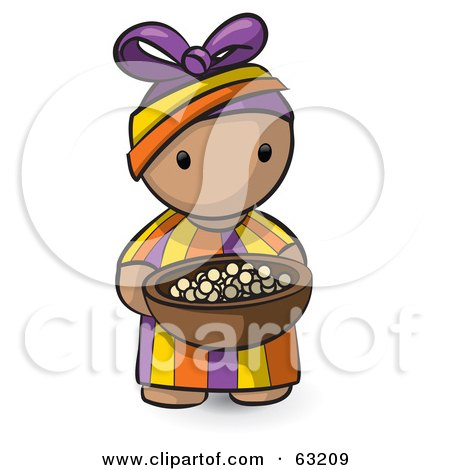 Royalty-Free (RF) Clipart Illustration of a Human Factor African Girl Carrying A Bowl Of Food by Leo Blanchette