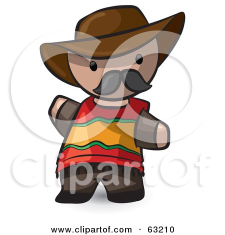 Royalty-Free (RF) Clipart Illustration of a Human Factor Spanish Man Waving by Leo Blanchette