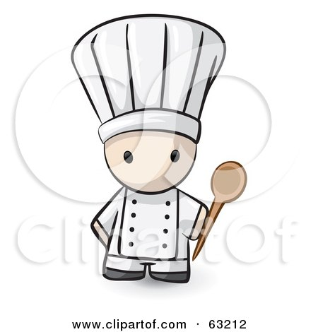 Royalty-Free (RF) Clipart Illustration of a Human Factor Chef With A Mixing Spoon by Leo Blanchette