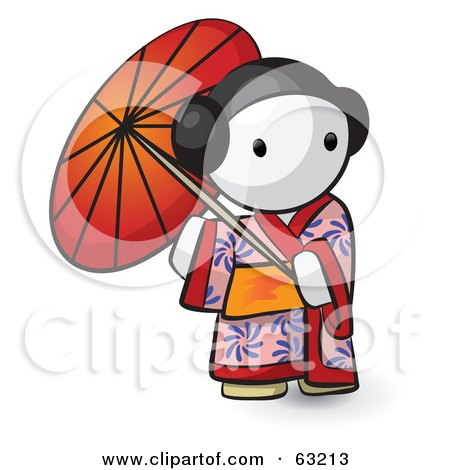 Royalty Free RF Clipart Illustration Of A Human Factor Geisha Woman Using An Umbrella
