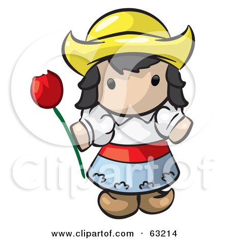 Royalty-Free (RF) Clipart Illustration of a Human Factor Dutch Girl Holding A Red Tulip by Leo Blanchette