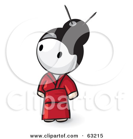 Royalty-Free (RF) Clipart Illustration of a Human Factor Geisha Woman In Red, Looking Up To The Left by Leo Blanchette