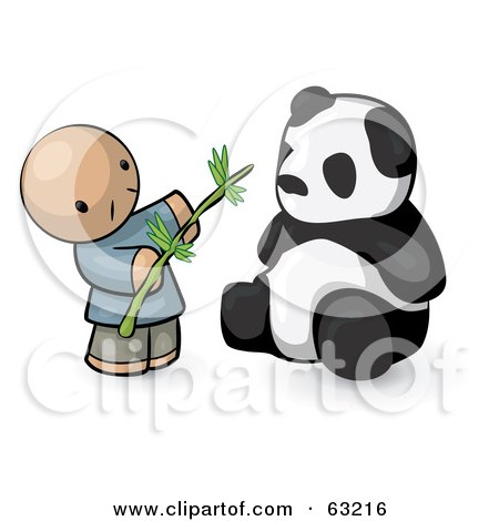 Human Factor Chinese Man Feeding A Panda Bear Posters, Art Prints