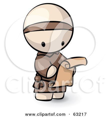 Royalty-Free (RF) Clipart Illustration of a Human Factor Monk Reading A Scroll Letter by Leo Blanchette
