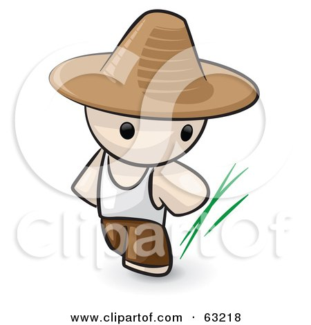 Royalty-Free (RF) Clipart Illustration of a Human Factor Chinese Farmer Man by Leo Blanchette