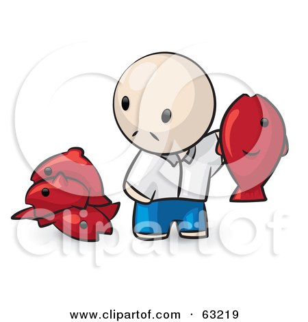 Royalty-Free (RF) Clipart Illustration of a Human Factor Man Holding Up A Red Fish by Leo Blanchette
