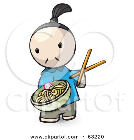 Royalty-Free (RF) Clipart Illustration of a Human Factor Chef Serving Saimin Noodles by Leo Blanchette