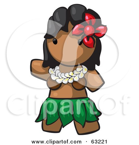 Royalty-Free (RF) Clipart Illustration of a Human Factor Hawaiian Hula Girl by Leo Blanchette