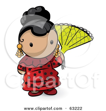 Royalty-Free (RF) Clipart Illustration of a Human Factor Spanish Woman With A Fan by Leo Blanchette