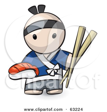 Royalty-Free (RF) Clipart Illustration of a Human Factor Male Japanese Chef With Sushi And Chopsticks by Leo Blanchette