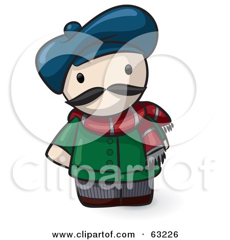 Royalty-Free (RF) Clipart Illustration of a Human Factor French Guy Wearing A Hat And Scarf by Leo Blanchette