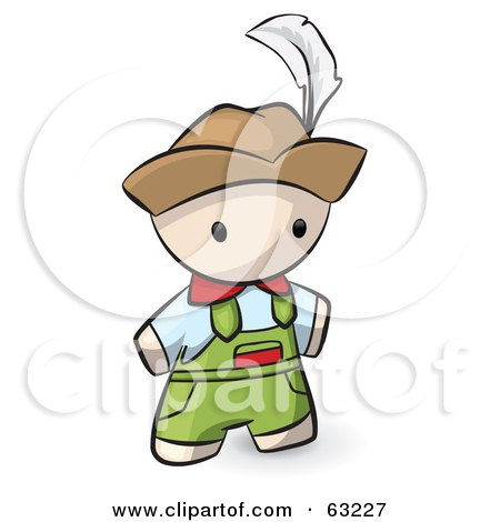 Royalty-Free (RF) Clipart Illustration of a Human Factor Swiss Man In Overalls And A Hat by Leo Blanchette