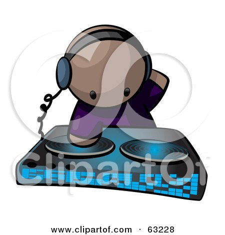 Royalty-Free (RF) Clipart Illustration of a Human Factor Dj Mixing Beats by Leo Blanchette
