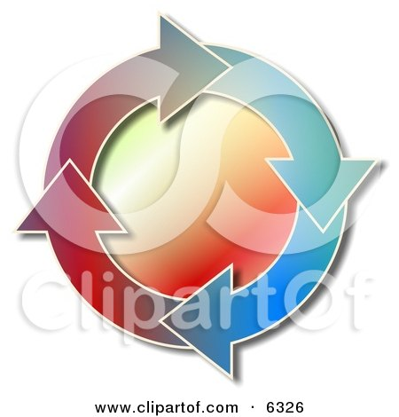 Colorful Recycle Arrows Moving in a Circular Clockwise Motion Clipart Picture by Dennis Cox
