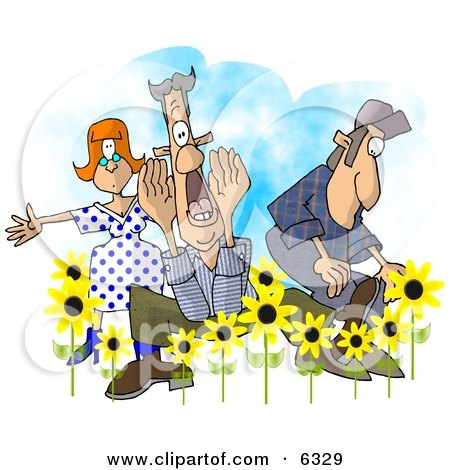 People Announcing Spring Has Sprung Clipart by djart