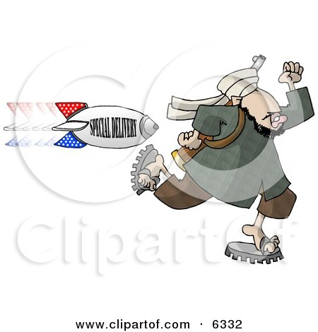 """Arab Terrorist Man Running from an American Bomb titled """"SPECIAL DELIVERY"""" Clipart Illustration by djart"""