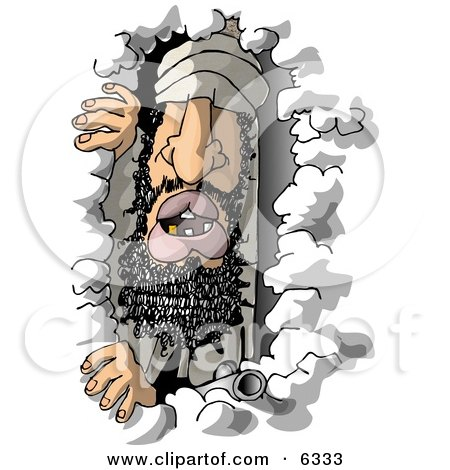 Arab Criminal (Usama bin Laden) Hiding In a Cave Clipart Illustration by djart