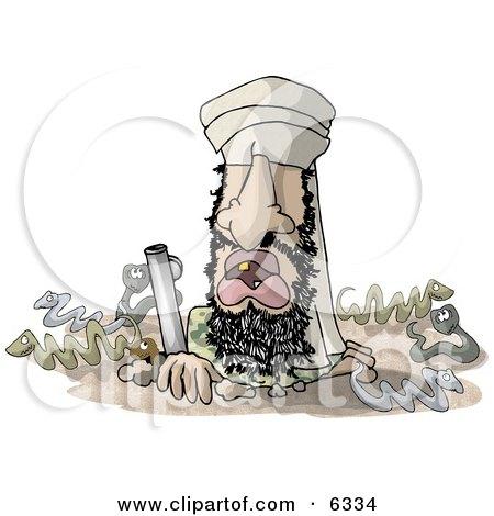 Osama Bin Hidin' Clipart Illustration by djart