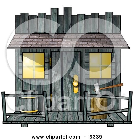 Clipart Of An Old Creepy Wood Shed or Western Saloon Building - Royalty Free Illustration by djart
